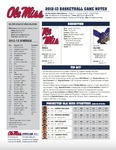 Ole Miss Game Notes Exhibition by Ole Miss Athletics. Men's Basketball