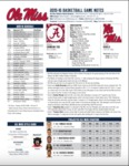 Ole Miss Game Notes Alabama