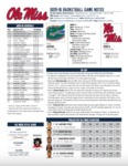 Ole Miss Game Notes Florida by Ole Miss Athletics. Men's Basketball