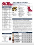 Ole Miss Game Notes Missouri by Ole Miss Athletics. Men's Basketball