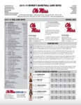 Ole Miss Game Notes WBB 2014-15 Final Notes by Ole Miss Athletics. Women's Basketball