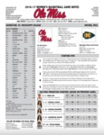 Ole Miss Game Notes WBB vs. Mississippi College Exhibition by Ole Miss Athletics. Women's Basketball