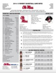 Ole Miss Game Notes WBB vs. Christian Brothers by Ole Miss Athletics. Women's Basketball