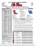 Ole Miss Game Notes WBB vs. Kentucky by Ole Miss Athletics. Women's Basketball