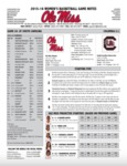 Ole Miss Game Notes WBB at South Carolina by Ole Miss Athletics. Women's Basketball