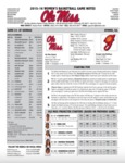 Ole Miss Game Notes WBB at Georgia by Ole Miss Athletics. Women's Basketball