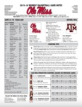 Ole Miss Game Notes WBB Texas A&M by Ole Miss Athletics. Women's Basketball