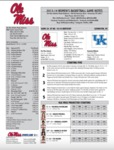 Ole Miss Game Notes WBB at Kentucky by Ole Miss Athletics. Women's Basketball