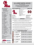 Ole Miss Game Notes WBB Mississippi State by Ole Miss Athletics. Women's Basketball