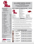 Ole Miss Game Notes WBB Arkansas by Ole Miss Athletics. Women's Basketball