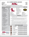 Ole Miss Game Notes WBB vs. Grambling by Ole Miss Athletics. Women's Basketball