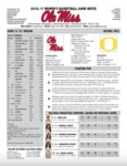 Ole Miss Game Notes WBB vs. Oregon by Ole Miss Athletics. Women's Basketball