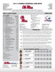 Ole Miss Game Notes WBB vs. South Alabama by Ole Miss Athletics. Women's Basketball