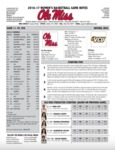 Ole Miss Game Notes WBB vs. VCU