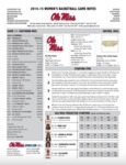 Ole Miss Game Notes WBB vs. Southern Miss by Ole Miss Athletics. Women's Basketball