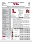 Ole Miss Game Notes WBB vs. Alabama A&M by Ole Miss Athletics. Women's Basketball