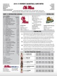 Ole Miss Game Notes WBB vs. Southeast Louisiana by Ole Miss Athletics. Women's Basketball