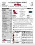 Ole Miss Game Notes WBB at Florida by Ole Miss Athletics. Women's Basketball