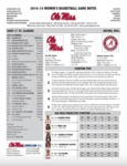 Ole Miss Game Notes WBB vs. Alabama by Ole Miss Athletics. Women's Basketball