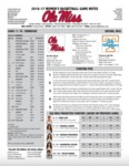 Ole Miss Game Notes WBB vs. Tennessee by Ole Miss Athletics. Women's Basketball
