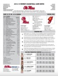 Ole Miss Game Notes WBB vs. Georgia by Ole Miss Athletics. Women's Basketball