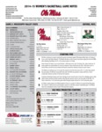Ole Miss Game Notes WBB vs. MVSU by Ole Miss Athletics. Women's Basketball