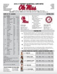 Ole Miss Game Notes WBB vs Alabama