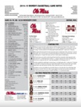 Ole Miss Game Notes WBB vs. Mississippi State by Ole Miss Athletics. Women's Basketball