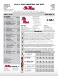 Ole Miss Game Notes WBB at LSU by Ole Miss Athletics. Women's Basketball