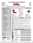 Ole Miss Game Notes WBB at Vanderbilt by Ole Miss Athletics. Women's Basketball