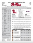 Ole Miss Game Notes WBB vs. LSU by Ole Miss Athletics. Women's Basketball
