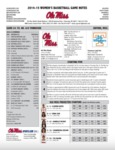 Ole Miss Game Notes WBB Tennessee by Ole Miss Athletics. Women's Basketball