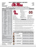Ole Miss Game Notes WBB vs. Mississippi State