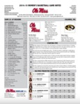 Ole Miss Game Notes WBB at Missouri by Ole Miss Athletics. Women's Basketball