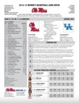 Ole Miss Game Notes WBB Kentucky by Ole Miss Athletics. Women's Basketball