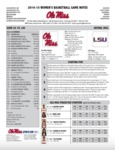 Ole Miss Game Notes WBB vs LSU by Ole Miss Athletics. Women's Basketball