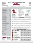 Ole Miss Game Notes WBB vs. Jacksonville State by Ole Miss Athletics. Women's Basketball
