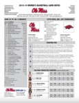 Ole Miss Game Notes vs. WBB Southern by Ole Miss Athletics. Women's Basketball