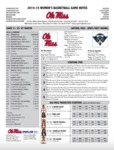 Ole Miss 2016-17 Women's Basketball Game Notes: Grambling by Ole Miss Athletics. Women's Basketball