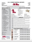 Ole Miss Game Notes WBB UT Martin (WNIT) by Ole Miss Athletics. Women's Basketball