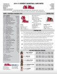 Ole Miss Game Notes WBB SEMO by Ole Miss Athletics. Women's Basketball