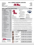 Ole Miss Game Notes Nugget Classic by Ole Miss Athletics. Women's Basketball
