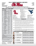 Ole Miss Game Notes WBB West Virginia