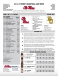 Ole Miss Game Notes WBB v. Baylor by Ole Miss Athletics. Women's Basketball