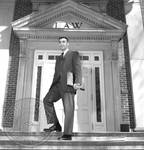 Doug Aberham on steps of Law Building: Image 1 by Edwin E. Meek