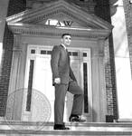 Doug Aberham on steps of Law Building: Image 2 by Edwin E. Meek