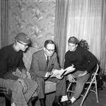 Chancellor J. D. Williams and two students: Image 2 by Edwin E. Meek