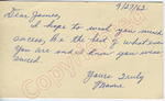 "Mamie to ""Dear James"" (27 September 1962) by Author Unknown"
