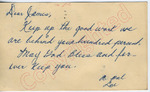 """A pal, Lue to """"Dear James"""" (6 October 1962) by Author Unknown"""