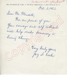 Joy S. Cooke to Mr. Meredith (2 October 1962) by Joy S. Cooke